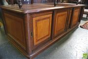Sale 8390 - Lot 1086 - Inlayed Mahogany Office Cabinet, with 4 sliding panel doors