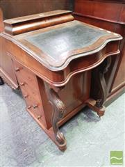 Sale 8416 - Lot 1085 - Victorian Figured Walnut Davenport, with hinged compartment & writing slope, enclosing faux & 1 actual drawer, having carved cabriol...