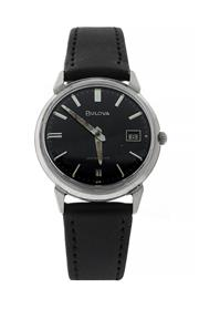 Sale 8406A - Lot 29 - Vintage mens stainless Bulova wristwatch, circa 1966, black dial, 33 mm, hand winding, Swiss made 17 jewels, in working order