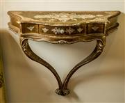 Sale 8420A - Lot 3 - A vintage Italian Florentine demi lune wall shelf with pull out drawer, measurements: 66cm high x 27cm deep, condition: some gilding...