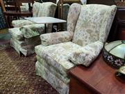 Sale 8657 - Lot 1059 - Pair of Cream Upholstered Wingback Armchairs