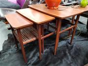 Sale 8684 - Lot 1092 - Nest of Danish Tables with Rattan Shelf