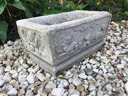 Sale 8772A - Lot 42 - An Antique 19th Century Hand Carved Stone Four Sided Dragon Planter Size 59cm L x 30cm H x 35cm W Aged, General Wear, Previous Old R...