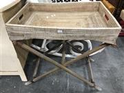 Sale 8817 - Lot 1088 - Wicker Tray on Folding Stand