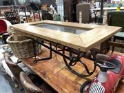 Sale 8893 - Lot 1038 - Wheelbarrow Form Coffee Table with Glass Top