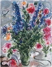 Sale 9042A - Lot 5042 - Marc Chagall (1887 - 1985) - Les Lupin Bleu 89 x 63 cm (frame: 113 x 87 x 3 cm)