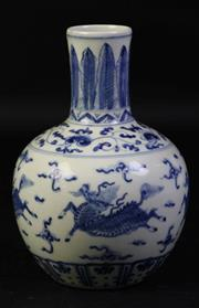 Sale 8997A - Lot 610 - A blue and white kylin themed vase, mark to base (H17cm)