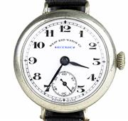 Sale 8402W - Lot 19 - WWI WEST END WATCH CO. SECUNDUS TRENCH WATCH; white dial with Arabic numerals, subsidiary dial on a 15 jewell movement, case marked...