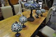 Sale 8489 - Lot 1088 - Set of Four Small Leadlight Shade Table Lamps & Larger Example (5)