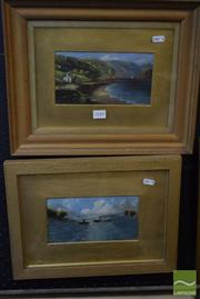 Sale 8518 - Lot 2048 - 2 Paintings: A.Montague Steamers & A.Montague Cottage by the Water, Framed Paintings on Board, SLR