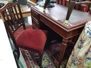 Sale 8589 - Lot 1067 - Leather Inlaid Top Timber Desk & Carved Back Chair with Red Upholstered Seat (2)