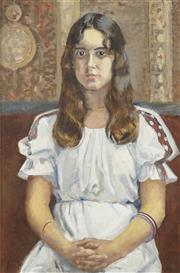 Sale 8738A - Lot 5067 - Douglas Dundas (1900 - 1981) - Girl with Bangles, 1977 74 x 49cm