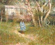 Sale 8870A - Lot 505 - Dale Marsh (1940 - ) - Girl in a Blue Dress, Warrandyte, 1982 49.5 x 59 cm