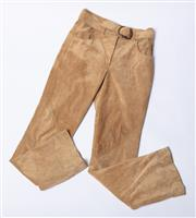 Sale 9003F - Lot 8 - A pair of DKNY beige vintage leather straight leg pants with belt, size 4 (small) length - 32