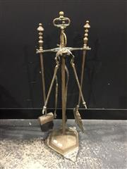 Sale 9006 - Lot 1004 - Set Of Brass Fire Tools On Ornate Stand (H:73cm)