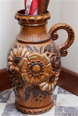 Sale 9103M - Lot 416 - A West German pottery jug with floral decoration, Height 56cm