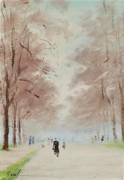 Sale 9161 - Lot 513 - HAYWARD VEAL (1913 - 1968) Hyde Park Boardwalk, London, 1951 oil on canvas board 34.5 x 24 cm (frame: 48 x 38 x 4 cm) signed lower l...