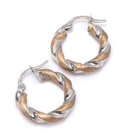 Sale 9213 - Lot 309 - A PAIR OF 9CT TWO TONE GOLD TWIST HOOP EARRINGS; in polished white and textured yellow gold to lever fittings, size 16mm, wt. 1.57g.