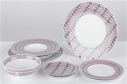 Sale 9255H - Lot 66 - A quantity of Christofle dinnerwares with purple repeating design to border;