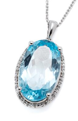 Sale 9246J - Lot 322 - A SILVER TOPAZ AND DIAMOND PENDANT NECKLACE; featuring an oval cut blue topaz of approx. 11 ct to surround set with 20 single cut di...