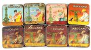 Sale 8376 - Lot 47 - Eight Pre-War Meccano Tins; some with contents.