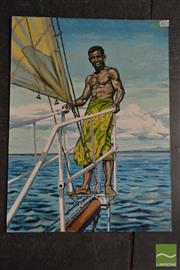 Sale 8503 - Lot 2053 - A. T. - On the Boat, 1969 61 x 45.5cm
