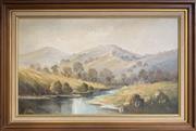Sale 8668 - Lot 2012 - M. Sehuback - Hills at Elderston, oil on board, 48x79cm, s.l.l. -