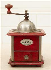 Sale 8902H - Lot 65 - An early C20th French coffee grinder by Peugeot in a red painted timber frame and chrome metal top, approx. 20cm tall