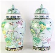 Sale 8977 - Lot 85 - A Pair of Large Chinese Lidded Vases Decorated with Birds and Floral (H 54cm)