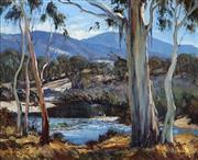 Sale 8992 - Lot 549 - Leonard Long (1911 - 2013) - Fishing in the Valley 44.5 x 54.5 cm (frame: 63 x 73 x 5 cm)