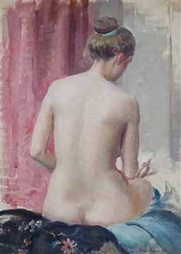 Sale 9161 - Lot 525 - NORA HEYSEN (1911 - 2003) A Nude, 1937 oil on canvas on board 40 x 30 cm (frame: 52 x 42 x 4 cm) signed and dated lower right, title...