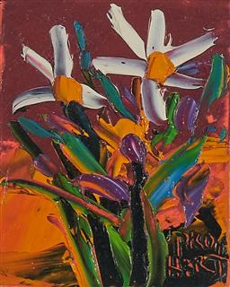 Sale 9161 - Lot 592 - KEVIN CHARLES (PRO) HART (1928 - 2006) Tropical Flowers oil on board 11 x 8.5 cm (frame: 32 x 27 x 2 cm) signed lower right
