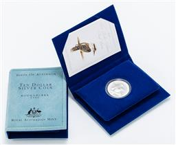 Sale 9190E - Lot 99 - Two cased sets of 1989 Kookaburra silver proof $10 coins, both with certificates of authenticity, ed. 40606/50000, and ed. 40603/50000
