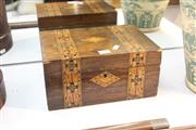 Sale 8322 - Lot 27 - Burr Timber Inlaid Box with a Key