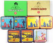 Sale 8376 - Lot 33 - Nine Vintage Meccano Tins, some with contents, one with reproduction label