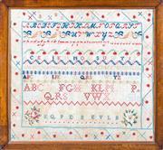 Sale 8599A - Lot 57 - A Victorian needlework sampler, 55 x 59cm (inc. framing).