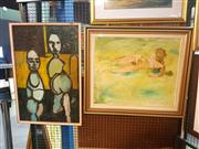 Sale 8663 - Lot 2111 - 2 Original Artworks by Unknown Artists - Two Figures and Nude, framed and various sizes, unsigned -