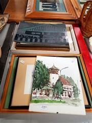Sale 8678 - Lot 2085 - 7 Artworks incl David Langford - European Scene, Pen Drawing, signed; Watercolours, Linocut Template etc