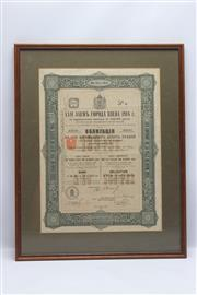 Sale 8698 - Lot 97 - Framed Russian Bond Certificate 1914
