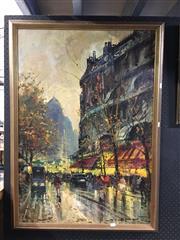 Sale 8750 - Lot 2058 - Artist Unknown - European Street Scene, Oil