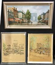 Sale 8945 - Lot 2080 - Group of (3) Parisian Street Scene Artworks by Various Artistsd