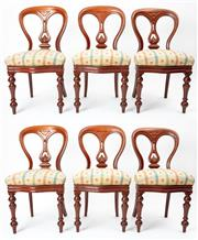 Sale 8960J - Lot 32 - A superior quality set of 6 antique English mahogany chairs C: 1840. The pierced carved centre splat within the attractive waisted b...