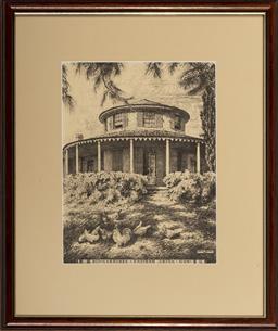 Sale 9099A - Lot 5095 - Hardy Wilson (1881 - 1955) (4 works) - Rock Wall Potts Point, Macquarie Cottage, Bungarribee & The Oaks Richmond 32 x 24 cm each, Fr...