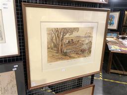 Sale 9147 - Lot 2012 - Cedric Emanuel Exposed Rocks - Sydney Harbour colour etching ed. 87/90, 67 x 78cm (frame) signed