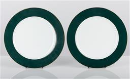 Sale 9255H - Lot 2 - A pair of Christofle Verte presentation plates, with hand applied gilt edges, Diameter 30cm.