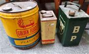 Sale 8476 - Lot 1051 - Collection of Three Vintage Petrol Tins incl. BP and Golden Fleece