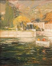 Sale 8575 - Lot 589 - Colin Parker (1941 - ) - Autumn Sunlight, Lake Como, 1993 49.5 x 39.5cm