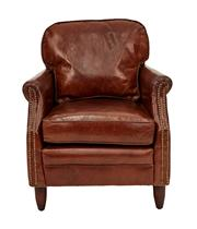 Sale 8651A - Lot 53 - A pair of hand aged, soft leather club armchairs with brass stud detailing, each H 80 x W 73 x D 80cm