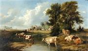 Sale 8870A - Lot 551 - Thomas Sidney Cooper (1803 - 1902) - Pastoral Scene 33.5 x 60 cm
