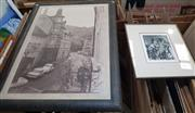 Sale 9024 - Lot 2064 - Vivien Iredale Mr Punch etching ed. 11/20 55 x 46cm (frame), together with a Poster of a European Street Scene